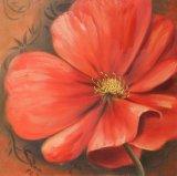 Dröhnender roter Blumen-Farbanstrich - Segeltuch-Wand-Kunst
