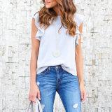 La camicia chiffona casuale del manicotto di Short di estate delle 2017 donne supera la camicetta