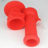 Schädel-Form-Silikon-Glaspfeife-Silikon-Wasser-Rohr