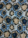 의복과 가정 직물을%s 자수 폴리에스테 레이스 직물이 새로운 디자인 공상에 의하여 꽃이 핀다