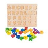 26 letra do alfabeto de madeira natural Puzzle brinquedos educativos do bebé