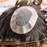 Las Canas Gran Curly plena Handtied Toupee peluca Mens (PPG-L-01474)