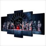 Druck-Segeltuch-Farbanstrich-Wand-Kunst-Segeltuch, das 5 Panel-Film-Star Wars-Hauptdekor-Wand-Abbildung für Wohnzimmer-Dekor anstreicht