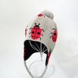 Детей дома предпочитают открытый детский девочек мальчиков трикотажные POM POM ошибки печати Beanie Earflaps снег зимой лыжный Red Hat (HW610)