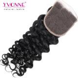 Закрытие шнурка человеческих волос Италии оптовой продажи волос Yvonne курчавое