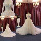 Cordão de alta qualidade Ball Bata Suite longo comboio vestido de casamento