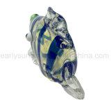 파란 줄무늬 열대 물고기 유리제 손 관 (ES-HP-127)