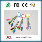 LED Charger&Transfer 편평한 마이크로 컴퓨터 USB 케이블 다채로운 통신망 케이블