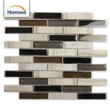 Alto estándar de color gris claro Strip Mosaico de Piedra de Cristal para decorar
