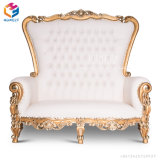 Le Roi royal Throne Chair de sofa de mariage argenté d'or blanc de la Reine