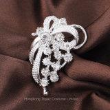 Farbband-Brosche-Brautblumenstraußrhinestone-Kristallbrosche-Frauenpin-silberne Farbe simulierte Perle (BR-11)