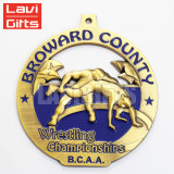 Concessão 3D de prata antiga feita sob encomenda que Wrestling a medalha do esporte dos campeonatos de Bcaa