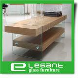 楕円形のガラス上が付いているMDFのコーヒーテーブル