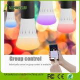 De nieuwe LEIDENE van Producten Verlichting Smartphone/Bluetooth van het Ontwerp controleerde Multicolored RGB LEIDENE Lichte Slimme LEIDENE van Ce UL E27/B22 9W WiFi Bol