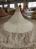 Vestido de casamento longo branco do vestido de esfera da garganta do querido do trem