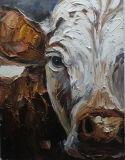 A arte de parede de lona artesanais Vaca Branco pinturas a óleo de oficina para decoração