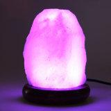 USB를 가진 손에 의하여 새겨지는 자연적인 분홍색 히말라야 소금 램프