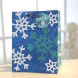 Weihnachtsfunkeln-Baumpatten-blauer Papierbeutel, Geschenk-Papierbeutel