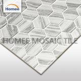 安く73X73X8mmの壁Backsplashのための灰色の六角形のタイルのガラスモザイク