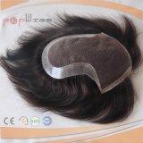 Poli Hairpiece dei capelli di colore brasiliano del nero (PPG-l-0928)