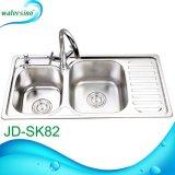 Jd-Sk84 handgemachte Retangular Küche-Wanne mit doppelten Filterglocken