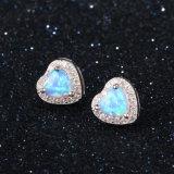 Jóia de prata do parafuso prisioneiro 925 Opal azuis quentes do brinco do presente da promoção de venda do projeto do coração (559754131490)
