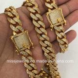 Diseño simple del collar del encadenamiento del oro 18K para los hombres