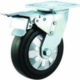 4/5/6/8 Zoll-schwarze elastische geräuschlose örtlich festgelegte Fußrollen-Gummiräder für Laufkatze