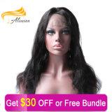 Perruque grande de lacet de cheveux humains de Vierge de qualité d'Alimina pleine