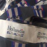 De Alta Densidad personalizado 5*17cm etiquetas para prendas de corte elegante etiqueta tejida etiquetas tejidas
