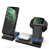 Draadloze oplader 3 in 1 Fast Charging Station, voor Apple Iwatch Airpods PRO, iPhone 12 Samsung Galaxy, zwart