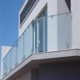 Claro diseño de vidrio templado de vidrio pasamanos vástago de acero