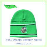 新しいデザイン刺繍の緑のWniterのニットの帽子