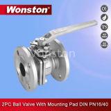 2PC de Kogelklep van de flens Met het Opzetten ISO5211 Stootkussen DIN Pn16/Pn40