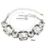 Bracelete ajustável lapidado da cor de prata de vidro quadrada redonda branca dos braceletes