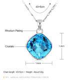 Mooie Blauwe Rhodium van de Tegenhanger van het Kristal plateerde Eenvoudige Halsband