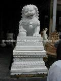 Natürliche weiße Marmorlöwe-Skulptur (GS-A-023)