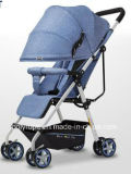 ein Kinderwagen kann auf einem Baby-Spaziergänger mit einem beweglichen faltenden Kinderwagen sitzen und liegen