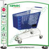 Plastikkorb-Einkaufen-Laufkatze mit Metallrahmen