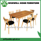 4脚の椅子が付いているカシの木の長方形のダイニングテーブル