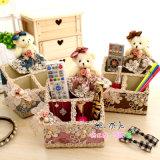 Paño de estilo rural cosméticos/Papelería/Controlador remoto Caja de almacenamiento, creativo preciosa caja de almacenamiento