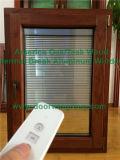 Finestra con i ciechi di gestione elettrici, finestra pura selezionata della stoffa per tendine di legno di quercia dell'America di inclinazione di profili di legno solido