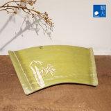Surface mate de vaisselle bambou vert coffre en plastique durable de la mélamine grand fan de la plaque en forme