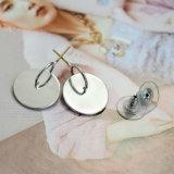 Prata simples o círculo oco pequeno chapeado oscila brincos de gota dos pendentes