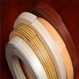 0.5*22mm, borda de borda de madeira lustrosa elevada do PVC da cor da grão da cor contínua de 1*20mm