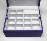Пурпуровая коробка подарка ювелирных изделий кожи влюбленности женщин
