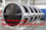 De pneumatische PTFE Gevoerde Vleugelklep van het Wafeltje van het Roestvrij staal (D671F46)
