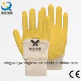 Хлопок гильзы желтыми латексными 3/4 покрытием безопасность рабочей перчатки (L001)