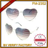 Fm-2352 hete Verkoop die de Amerikaanse Zonnebril van het Metaal van de Vlag Heartshaped charmeren