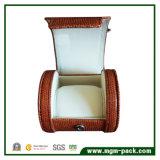 Caixa de relogio de plástico redondo de PU de luxo para presente